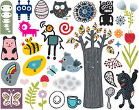 Mix of different vector images. vol.12. Mix of different vector images and icons stock illustration