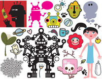 Mix of different vector images. vol.40 Royalty Free Stock Photos