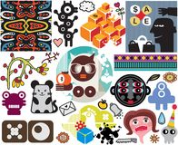 Mix of different vector images. vol.51. Mix of different vector images and icons Stock Photo