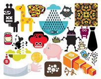 Mix of different vector images. vol.55. Mix of different vector images and icons Stock Images