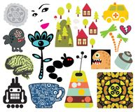 Mix of different vector images. vol.63 Royalty Free Stock Photo