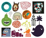Mix of different vector images. vol.73 Royalty Free Stock Photos