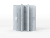 Mix of Doors. Mix of white opened and closed doors on white Stock Photo