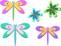 Mix of Dragonflies and Butterflies Royalty Free Stock Photos