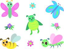 Mix of Dragonflies, Butterflies, Bee and Beetle Stock Photos