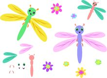Mix of Dragonflies, Parts, and Flowers Royalty Free Stock Photos