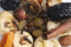 Mix of dried fruit and spices. Royalty Free Stock Photography