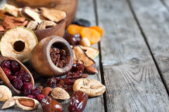 Mix of dried fruits Stock Photos