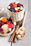 Mix of dried fruits Stock Images