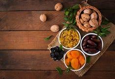 Mix dried fruits. (date palm fruits, prunes, dried apricots, raisins) and nuts. Ramadan (Ramazan) food stock image