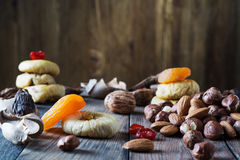Mix of dried fruits and nuts Royalty Free Stock Photos