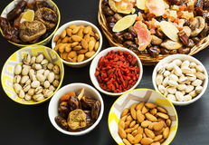 Mix of dried fruits and nuts Royalty Free Stock Photography
