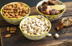 Mix of dried fruits and nuts Royalty Free Stock Images