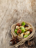 Mix of dried fruits and nuts. royalty free stock photo