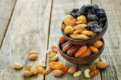 Mix of dried fruits and nuts Stock Photos