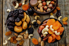 Mix of dried fruits and nuts Stock Photo