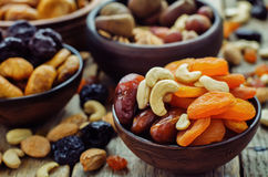 Mix of dried fruits and nuts Royalty Free Stock Image