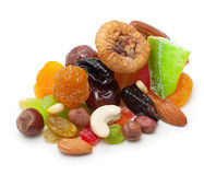 Mix dried fruits and nuts isolated Stock Photos