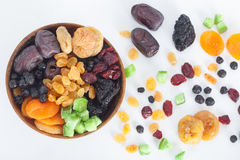 Mix of dried fruits on white Royalty Free Stock Images
