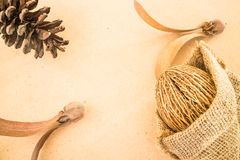 Mix of dried plant ornament on wooden background Royalty Free Stock Image