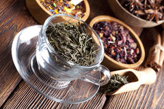 Mix of dried tea leaves Royalty Free Stock Photos