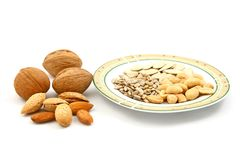 Mix of dry fruits and seeds Royalty Free Stock Image