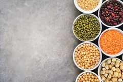 Mix of dry legume varieties, high protein vegan food royalty free stock photography