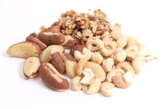 Mix of dry nuts. Brazil nuts, Walnut and Cashew Stock Photos