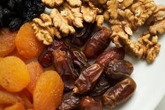 Mix of dry nuts and fruits royalty free stock photos