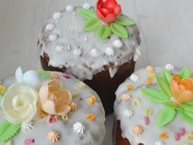 Mix of Easter cakes on a white table. Mix of Easter cakes on a white wooden table royalty free stock photography