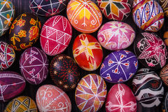 Mix of easter eggs with the traditional designs. Royalty Free Stock Photos