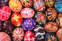 Mix of easter eggs with the traditional designs. Mix of colored easter eggs with the traditional designs royalty free stock image