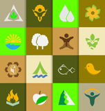 Mix of ecology and nature flat icons Stock Photos