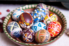 Mix of eggs with the traditional designs Royalty Free Stock Images