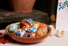 Mix of eggs with the traditional designs Stock Photos