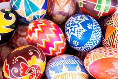 Mix of eggs with the traditional designs Royalty Free Stock Photography