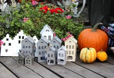 Mix of fall decorations with pumpkin royalty free stock photo