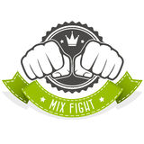 Mix Fight club emblem with two fists Stock Photo
