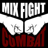 Mix fight combat emblem - collision of two fists. Silhouettes Stock Photo