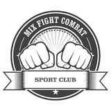 Mix fight combat emblem - fists. Mix fight combat emblem - clenched fists stock illustration