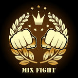 Mix fight competition emblem with fists Royalty Free Stock Photos