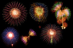 Mix firework in black sky Royalty Free Stock Photography