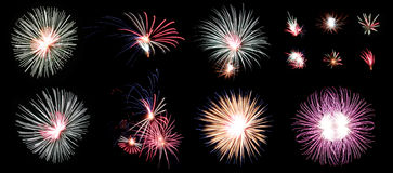 Mix Fireworks or firecracker in the darkness Frame. Royalty Free Stock Photo