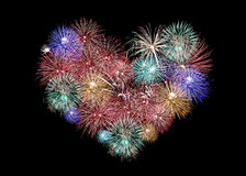 Mix Fireworks or firecracker in heart Shape. Royalty Free Stock Photos
