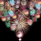 Mix Fireworks or firecrackers. Variety of colors Mix Fireworks or firecrackers in the darkness Royalty Free Stock Photo