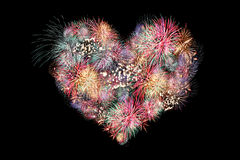 Mix Fireworks of heart. Stock Image