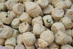 Mix of fish meat ball with tofu Stock Photo