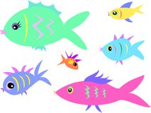 Mix of Fish of a Variety of Colors and Shapes Royalty Free Stock Photo