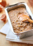 Mix of flour, eggs, bananas and chopped dark chocolate and walnu Royalty Free Stock Photography