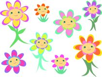 Mix of Flower Faces and Bodies. Here is a collection of cute Flower Faces and Bodies of different colors and sizes Royalty Free Stock Image